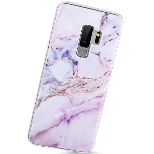 Samsung Glaxy S9 Plus Case,VIVIBIN Purple Pink Marble Galaxy S9 Plus Case for Women Girls Clear Bumper Shockproof Glossy TPU Soft Silicon Rubber Slim Thin Protective Cover Phone Case for Samsung S9 Pl