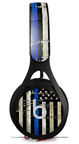 Skin Decal Wrap for Beats EP Painted Faded Cracked Blue Line Stripe USA American Flag HEADPHONES NOT INCLUDED