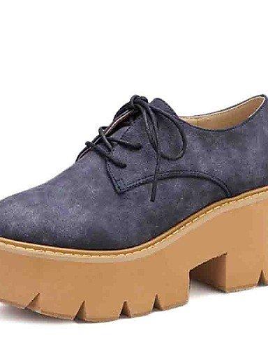 ZQ hug Zapatos de mujer - Tacón Bajo - Comfort - Oxfords - Exterior / Oficina y Trabajo / Vestido / Casual - Ante - Azul / Amarillo , yellow-us8 / eu39 / uk6 / cn39 , yellow-us8 / eu39 / uk6 / cn39 blue-us7.5 / eu38 / uk5.5 / cn38