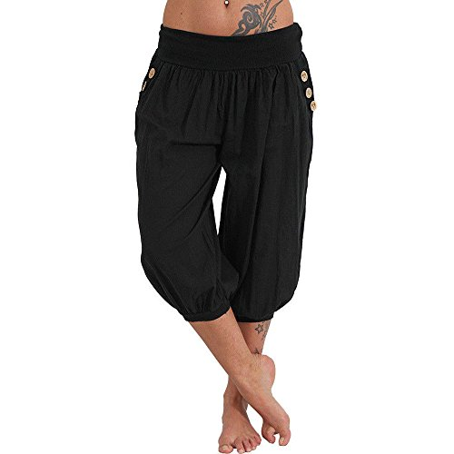 (Sunhusing Women's Solid Color High Waist Yoga Pants Fitness Casual Loose Button Buckle Pocket Cropped Pants)