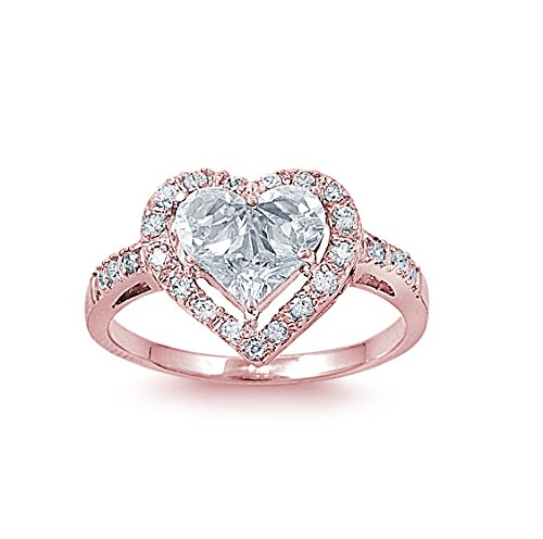 CloseoutWarehouse Cubic Zirconia Designer Inspired Heart Center Ring Rose Gold-Tone Plated Sterling Silver Size 5