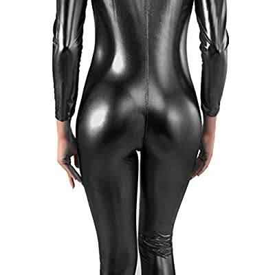 RIKKI Women's Liquid Wet Look Shiny Metallic Long Sleeve Catsuit Front Zipper at Women's Clothing store