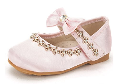 DREAM PAIRS SOPHIA-55 Adorables Casual Mary Jane Front Bow Hook and Loop Ballerina Flat Toddler New Pink Size 5