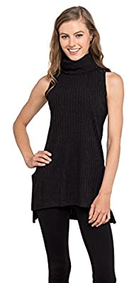 Womens Turtleneck Tunic Tank Top - Sleeveless Ribbed Sweater, Velucci