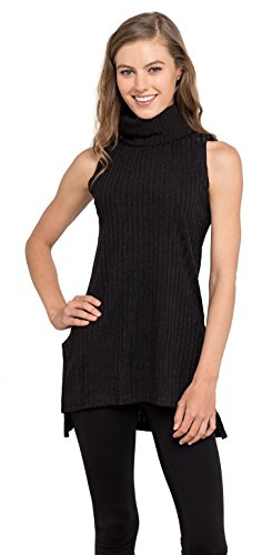 Womens Turtleneck Tunic Tank Top - Sleeveless Ribbed Sweater, Velucci (Black M)