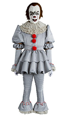 Clown Costumes (IT Movie Pennywise The Clown Cosplay Costume Halloween Outfit Male Large)