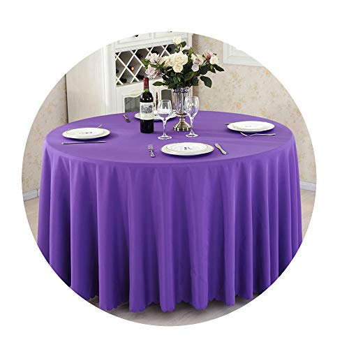 COOCOl Great Round Tablecloth Camping Table Cloth White Table Linen Hotel Party Wedding Tablecloth Dining Cover,Dark Purple,90X90Cm
