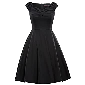 Shengdilu Women's 1940s Vintage Flared Swing Skaters Dress Party Work 3XL Black