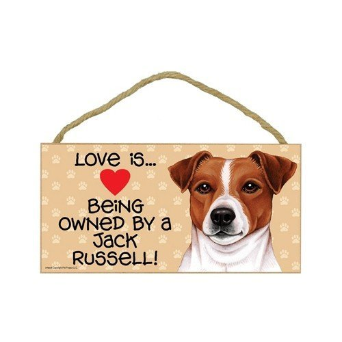 Jack Russell Terrier (Love is being owned by) Door Sign 5''x10''