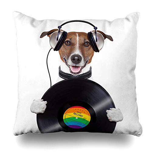- Ahawoso Throw Pillow Covers Funny Music Headphone Vinyl Record Dog Sports Musician Recreation Pet Disco Club Rock Design Home Decor Zippered Pillowcase Square Size 20 x 20 Inches Cushion Case