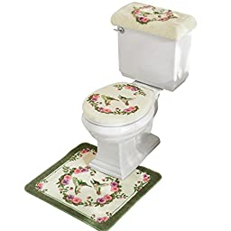 Hummingbird Floral Bathroom Toilet Accessories - 3 Pc, Multi, Machine Washable, Acrylic, Polyester