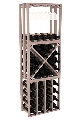(Wine Racks America Redwood Lattice Stacking Cube 3 Piece Set. Grey Wash Stain + Satin Finish)