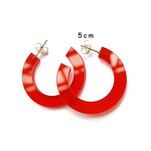 (New Arrival Creative Transparent Acrylic Material Exaggerated Circular Shape Candy Colors Women/Girl's Charm Earrings Ear Studs(5cm) (Red(5cm),)