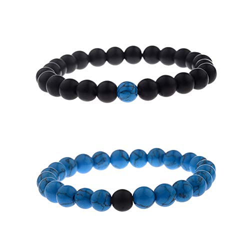 CNLQ Distance Bracelets for Lovers Couples Matching Gift Matte Agate 8mm Bead Stone ()