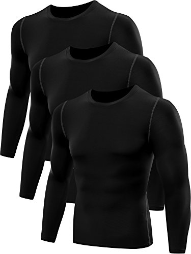 Neleus Men's 3 Pack Athletic Compression Sport Running T Shirt Long Sleeve Base Layer,Black,US S,EU M