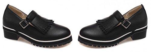 Sfnld Womens Tendance Bout Rond Taille Basse Frange Boucle Faible Chunky Talon Mocassins Chaussures Noir