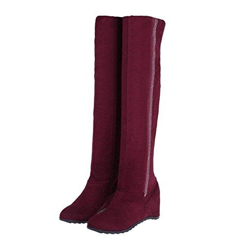 COOLCEPT Damen Hidden Heel Stiefel Ohne Verschluss Wine Red