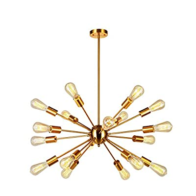 Sputnik Chandelier Brass 18 Light Mid Century Modern Pendant Lighting Industrial Vintage Ceiling Light UL Listed by VINLUZ - -Easy to install: All the arms are pre-wired and pre-threaded for easy installation, Gently thread remaining wire and arms into the central ball and screwed , Thread the main wire through the extension rods, then install the fixture into a ceiling box. &[Sloping Ceiling Available]-This Unique Chandeliers can be used on slat and slope ceiling. -Adjustable:You can adjust the hanging height as per your request so it can be showed multi displays according to your desired lighting view. - kitchen-dining-room-decor, kitchen-dining-room, chandeliers-lighting - 41it5j4ZiHL. SS400  -