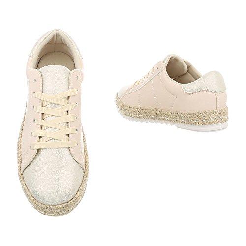 Sneaker Beige Scarpe Donna da Design Low Ital 13 Sneakers Piatto Fbk gIwBxPW8q