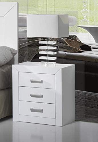 Dogar Kynus laqu/é Table de Chevet /à 3/tiroirs Blanc