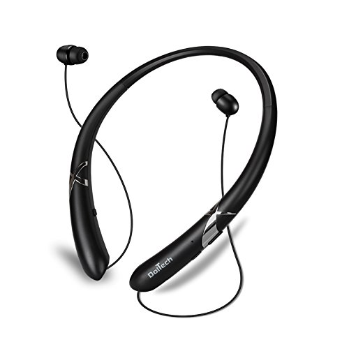 Bluetooth Headphones DolTech Retractable Earbuds Neckband Wireless Headset Sport Sweatproof Earphones with Mic for iPhone Android Cellphone (Black)