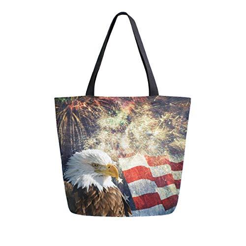 - Canvas Tote Bag Memorial Day For Bald Eagle Sign Canvas Bookbag Shoulder Handbag for Women Men