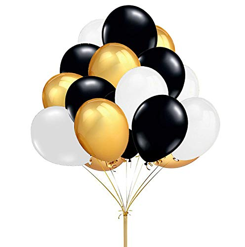 Fecedy 12 Gold Black White Round Latex Balloons for Decoration 100pcs/pack