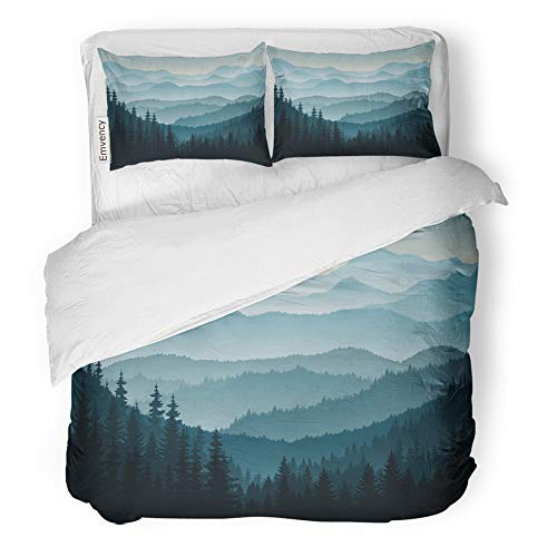Emvency Decor Duvet Cover Set Twin Size Blue Forest Morning in Mountains Tree Pine Silhouette Landscape Taiga Canada 3 Piece Brushed Microfiber Fabric Print Bedding Set Cover