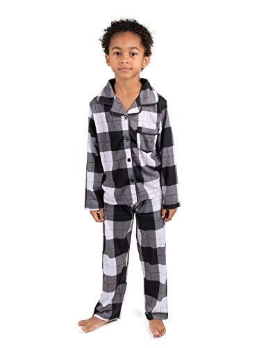 Leveret Kids Pajamas Flannel Pajamas Boys & Girls 2 Piece Christmas Pajama Set Black/White Plaid 10 Years ()
