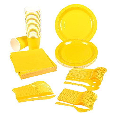 Disposable Dinnerware Set - Serves 24 - Yellow Party Supplies - Includes Plastic Knives, Spoons, Forks, Paper Plates, Napkins, Cups, Yellow