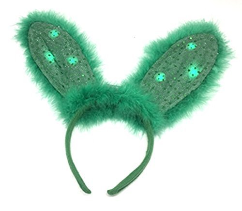 Day Costume Green Bunny (Saint Patricks Day Flashing LED Light Up Green Furry Bunny Ears Headband, 12)