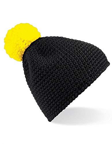 de yellow Hombre aspecto Gorra con invierno gofre y Pompon Mujer Black de para F74xd4