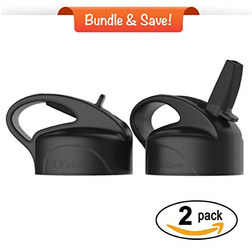 2.0 Lid Replacement (GO Active Premium Lid 2-Pack - This NEW and IMPROVED design is stronger, improved straw fitting, and durable BPA Free components. Fits 24/32 oz Sport Bottles (Large, Black) (2))