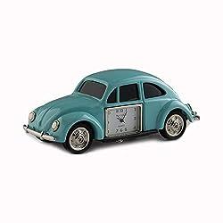 Red Co. Miniature Vintage Beetle Car, Novelty Desk Table Desktop Collectors Clock - 4