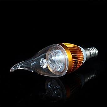 FDH 3W E14 300-350LM Velas LED Bombillas LED de luces(220V),Cool White- Silver: Amazon.es: Iluminación