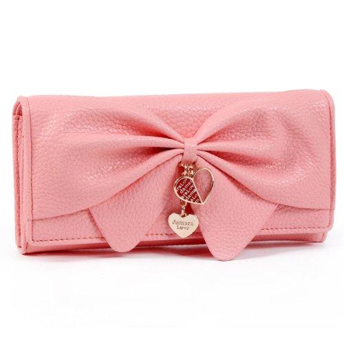 Damara Women Long Faux Leather Bifold Large Bow Design Wallet Handbag,Bright Pink