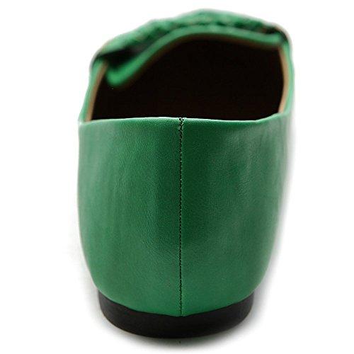 Ollio Womens Ballet Chaussure Bout Pointu Penny Multi Couleur Plat Vert