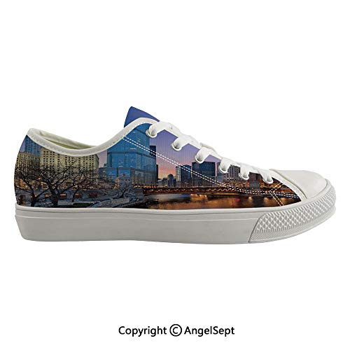 Durable Anti-Slip Sole Washable Canvas Shoes 16.14inch USA Chicago Cityscape with Rivers Bridge and Skyscrapers Cosmopolitan City Image,Multicolor Flexible and Soft Nice -