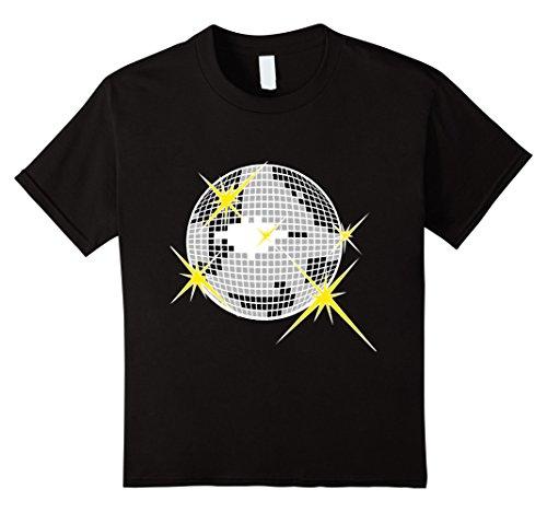 Kids I Love Disco T-Shirt with Silver Cool Mirror Ball Tee Shirt 10 Black