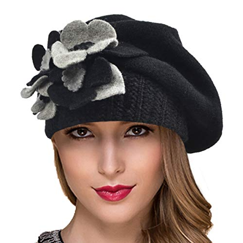 Ruphedy Women French Beret Knit Wool Beret Beanie Winter Hats Hy022 (Hy023-Black) -