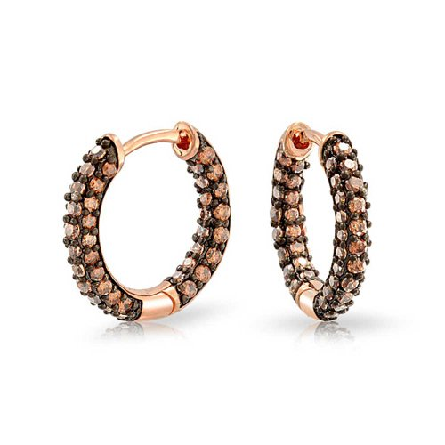 UPC 640626629089, Bling Jewelry Coffee CZ Inside Out Hoop Earrings Rose Gold Plated