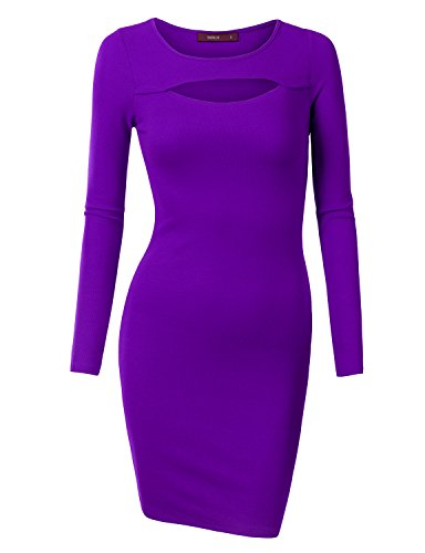 [Doublju Women Long Sleeve Round Neck beautiful Midi Dress PURPLE,XL] (Sexy Purple Dress)