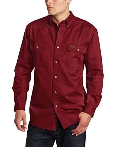 (Carhartt Men's Oakman Sandstone Twill Original-Fit Work Shirt, Dark Red, Regular Small)