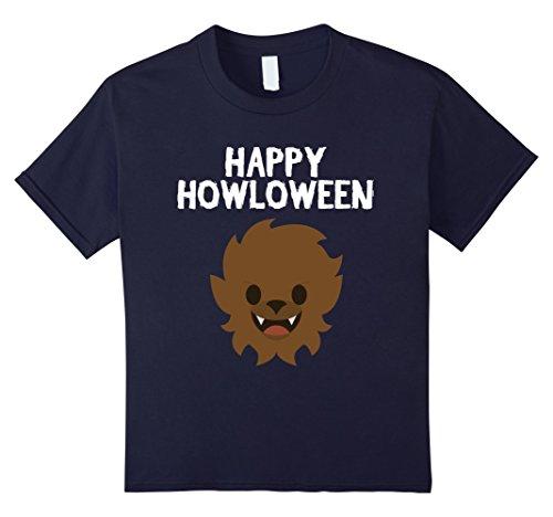 Last Laugh Clown Child Costumes (Kids Halloween Werewolf Shirt - Happy Howloween Wolf Funny Tee 10 Navy)