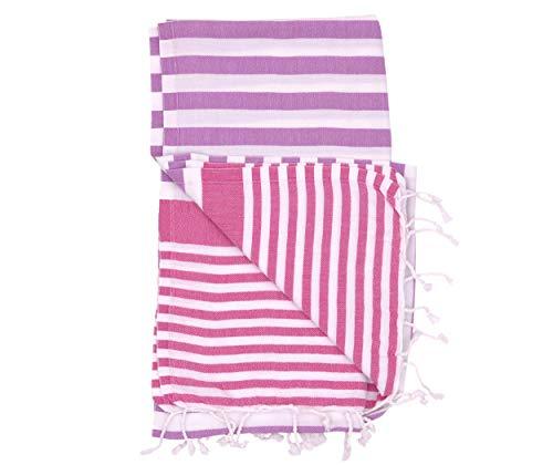 The Riviera Towel Company Amalfi Purple Fuchsia Turkish Towel for Bath & Beach Swimming Pool - Yoga - Pilates Peshtemal Hammam Fouta - Picnic Blanket - Scarf - Wrap