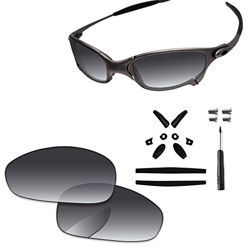 PapaViva Replacement Lenses & Rubber Kits for Oakley Juliet Grey Gradient - Polarized