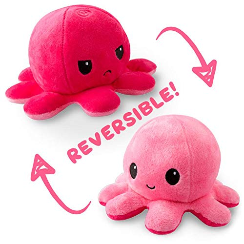 The Original Reversible Octopus Plushie   TeeTurtle's Patented Design   Light Pink and Dark Pink   Show your mood without saying a word!
