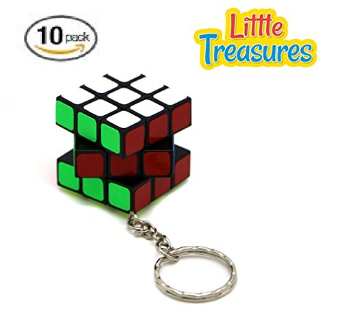 10 Speed Pack (Little Treasures Pack of 10 Mini Keychain Cube 3x3x3 Magic Cube Puzzles – Stickered Cubes)