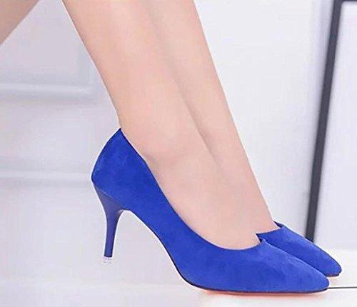 Hatop Pompes Chaussures, Femmes Dames Élégant Nue Bouche Peu Profonde Talons Hauts Chaussures Bleu