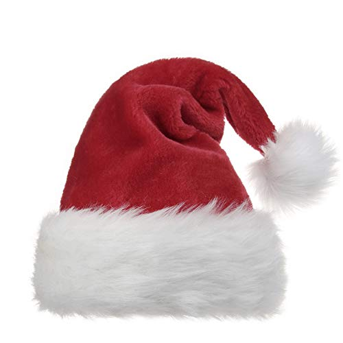 OPOLEMIN Santa Hat for Adults Plush Red Velvet & Comfort Liner Christmas Halloween Costume (Red) -